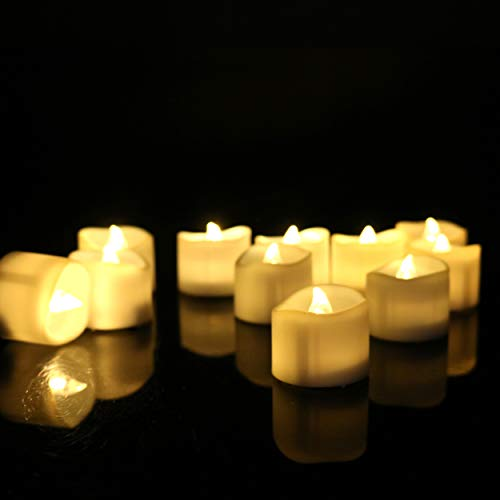 24 PCS 200 Hours Electric Warm White Flameless Timer Led Tea Light Candles (6 Hrs on 18 Hrs Off) Bright Flickering Bulbs Battery Operated Cute Small Tealights Realistic Candlelit Votive ()