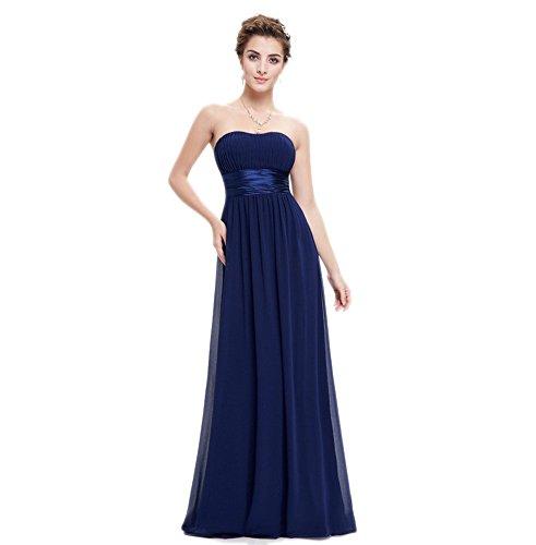 Navy in donna cintura da sera raso 34 Engerla chiffon spalline Empire blue abito con lunghezza in senza pavimento drappeggiato awqSp6