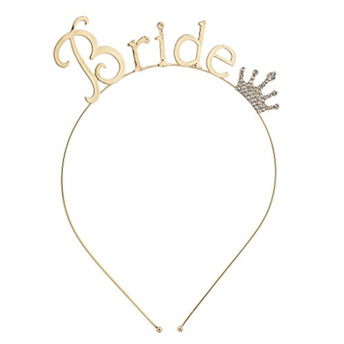 Gold Tone Crown (Lux Accessories Goldtone Rhinestone Crown Bride Bridal Bachelorette Headband)