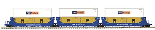 MTH 1:48 O Scale CSX 3-Car Twin-Stack Container Set Train Model #20-90366 ()