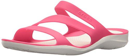 Crocs Women's Swiftwater Sandal, Paradise Pink/White, 6 M (Pink White Sandals)