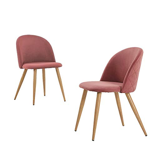 Cypress Shop Dining Chairs Accent Leisure Side Backrest Chair Velvet Fabric Soft Sitting Face Classic Style Side Chairs Restaurant Living Room Pink Color Home Furniture Set of 2 (Velvet Chair Tub Crushed)