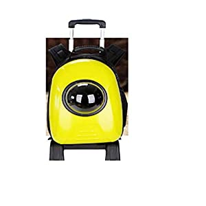 SRI Imported 2 in 1 Lightweight Stroller Trolley Backpack Capsule Cat Puppy Carrier for Traveling Hiking Camping (Yellow)