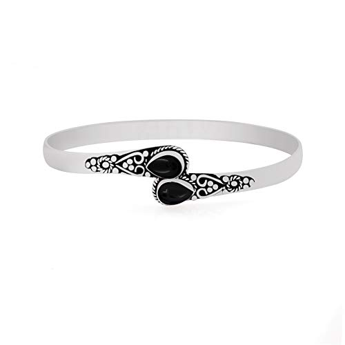 925 Silver Plated Natural Pear Shape 2 Stone Black Onyx Cuff Bangle Handmade Oxidized Finish Vintage Boho Style Jewelry for Women Girls