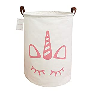LEELI Laundry Hamper with Handles-Collapsible Canvas Basket for Storage Bin,Kids Room,Home Organizer,Nursery Storage,Baby Hamper,19.7×15.7 (Simple Pink Unicorn)