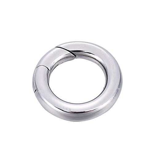 (YF 1PCS Stainless Steel Polished Round Enhancer Shortener Ring Spring Clasp for Jewelry Making)