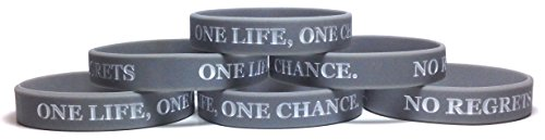 TheAwristocrat 6 Pack ONE Life, ONE Chance. NO Regrets Inspirational Silicone Wristband Rubber Bracelet (Cool Gray, Adult (8