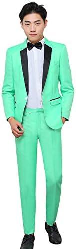 グリーン スーツ メンズ スーツセット 2点セット スリムスーツ スタイリッシュ カジュアルスーツ メンズ 紳士礼服フォーマルスーツ 演出服 ステージ衣装 忘年会 新年会 学園祭 演劇オペラ声楽 パーティー カラオケ 司会者 (グリーン, XL)