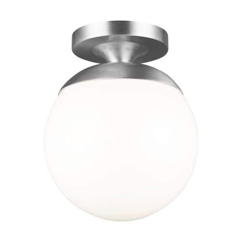 Sea Gull Lighting 7518EN3-04 Leo - Hanging Globe - 9.63'' 9.5W 1 LED Semi-Flush Mount, Satin Aluminum Finish with Smooth White Glass