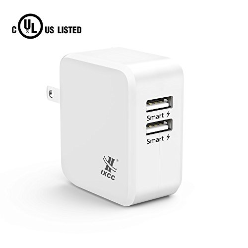 iXCC UL Certified 2 Port Wall Charger, 24W/4.8A Optimal Dual USB Charging Port Universal Charger Adapter for iPhone 7/6s Plus, iPad Air mini 3, Galaxy S Note Series, LG, etc - White