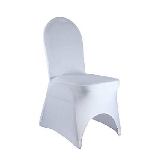 SINSSOWL Set of 50pc White Color Universal Size Spandex Banquet Wedding Party Stretch Dining Chair Covers-(Arch Bottom)