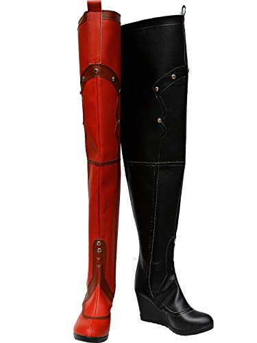 GOTEDDY Girl Harley Boots Halloween Cosplay Thigh High Boots Leather Clown Shoes]()