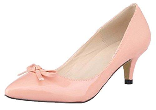 HooH Women's Pointed Toe Sweet Bowknot Kitten Pumps-Pink-41