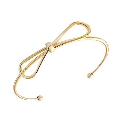 18k Knot Bracelet (SENFAI New Fashion 18k Gold and Silver Plated Adjustable Simple Handmade Bow Knot Bracelets & Bangles for Women (18K Gold plated))