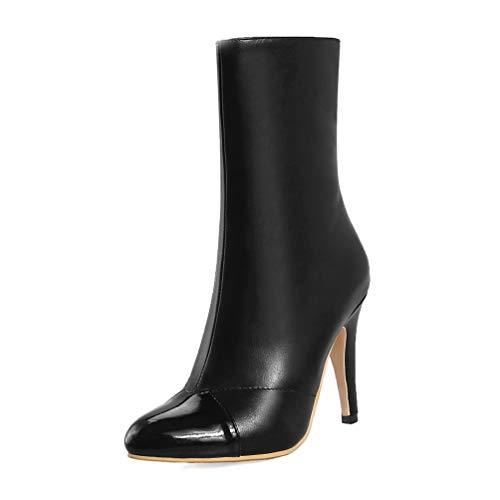 DETAWIN Women Winter Stiletto Boot Waterproof Zip PU Leather Thin High Heels Pointed Toe Mid Calf Boots