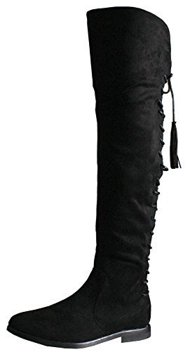 Ladies Black Suede Flat Winter Biker Style Low Heel Calf High Leg Over Knee Boots Size - shoeFashionista Branded Style D - Black Faux Suede