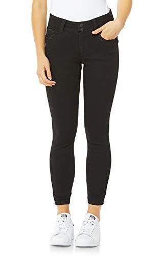WallFlower Women's Juniors Luscious Curvy Ankle Skinny Jeans in Black, 3