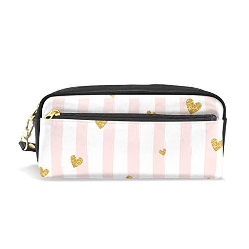 TropicalLife Heart Shaped Stripe Pencil Case with Zipper PU Leather Large Capacity Stationery Pouch Cosmetic Makeup Bag - Personalized Heart Shaped Pen