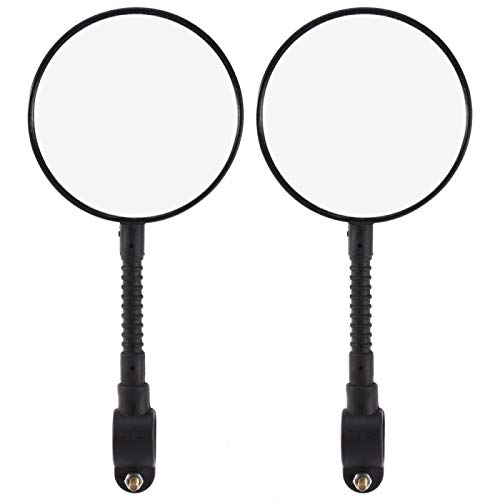 Feeko Bike Mirror, 2pcs Mountain Bike Road Cycling Rear View Mirror Vertical Rotation Compatible Bracket Black
