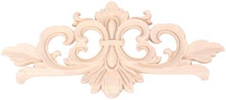 Healifty 2ピース木材彫刻オンレイアップリケ未塗装花アップリケ用diyクラフトドアホーム家具装飾