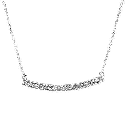 Cut Diamond Fashion - 0.10 Carat (ctw) 14K White Gold Round Cut Diamond Ladies Bar Shape Fashion Pendant 1/10 CT