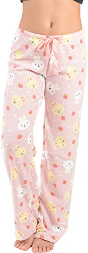 Active Club Women's Warm Printed Cozy Plush Lounge Pajama Pants (X-Large, Pink Bunnies)