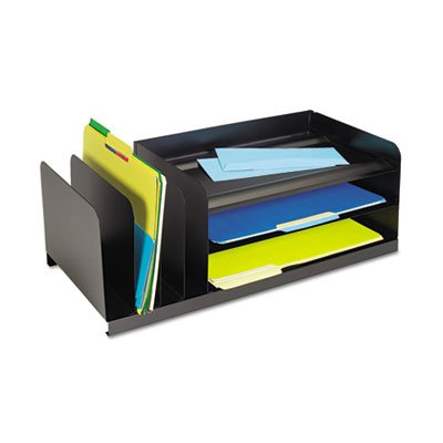 Legal-Size Organizer, Seven Sections, Steel, 25 7/8 x 11 x 8 1/8, Black, Sold as 1 Each