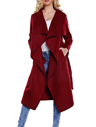 down As1 Turn Long sleeve Collar Autunno Rkbaoye Inverno Woolen Wrap Women's Coat P4qFwXxE