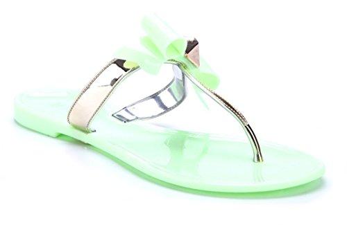 Schuhtempel24 Damen Schuhe Zehentrenner Sandalen Sandaletten Flach Zierschleife/Ziersteine Grün