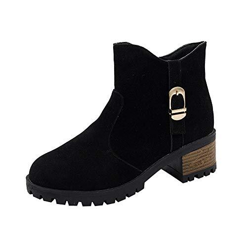 Detail Block Heel - Caopixx Boots for Women Ladies Stylish Comfortable Low Block Heel Side Zipper Ankle Short Boots