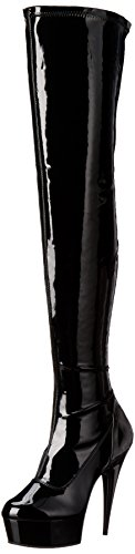 Pleaser Women's Delight-3000 Boot,Black Patent/Black,7 M US - 3000 Thigh High Boots