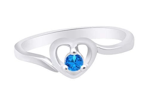 (AFFY Round Shape Simulated Topaz Solitaire Heart Ring 14k White Gold Over Sterling Silver Ring Size 7)