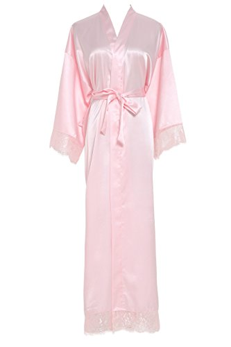 Owiter Womens Kimono Robe Long Lace Trim Bridesmaid Robes Bridal Robe