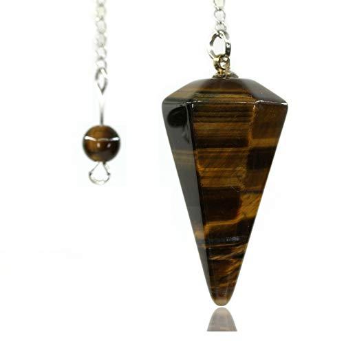 (Amandastone Natural Tiger Eye 12 Facet Crystal Hexagonal Pointed Reiki Chakra Pendant Pendulum)