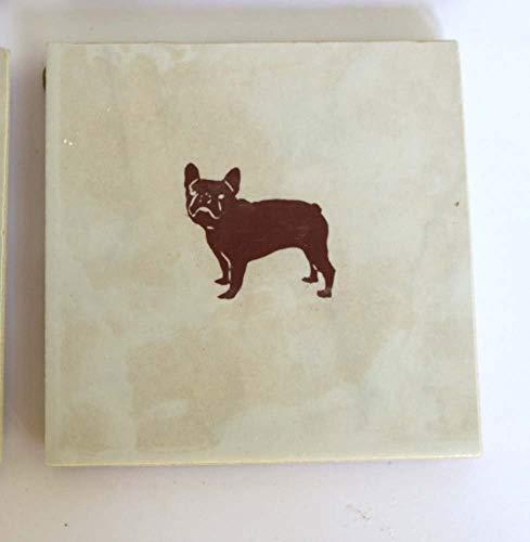 French Bulldog Dog Coasters Ceramic Square Set of 4 Brown White