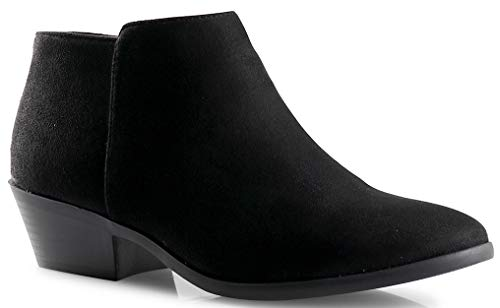 LUSTHAVE Women's Riley Chelsea Western Low Heel Ankle Boots Bootie Black Bottom SU 8.5