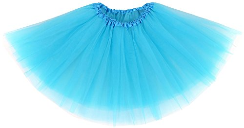 Simplicity Womens Adult Elastic 3 Layered Tulle Runners Tutu Skirt, Sky Blue -