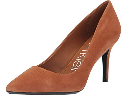 Calvin Klein Women's Gayle Pump Cognac Leather/Suede 5.5 M US