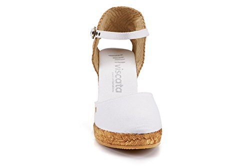 VISCATA Satuna Ankle-Strap, Closed Toe, Classic Espadrilles with 3-inch Heel Made in Spain White