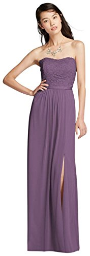 Lace and Mesh Long Strapless Bridesmaid Dress Style F18095, Wisteria, 18