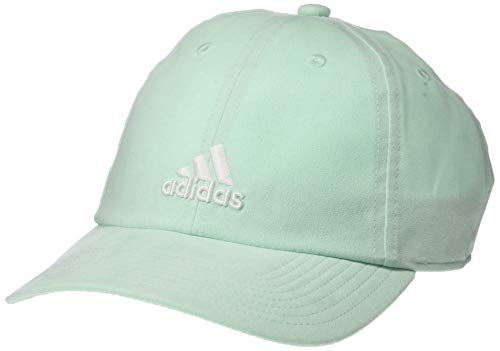(adidas Women's Saturday Plus Relaxed Adjustable Cap, Clear Mint/White, One Size)