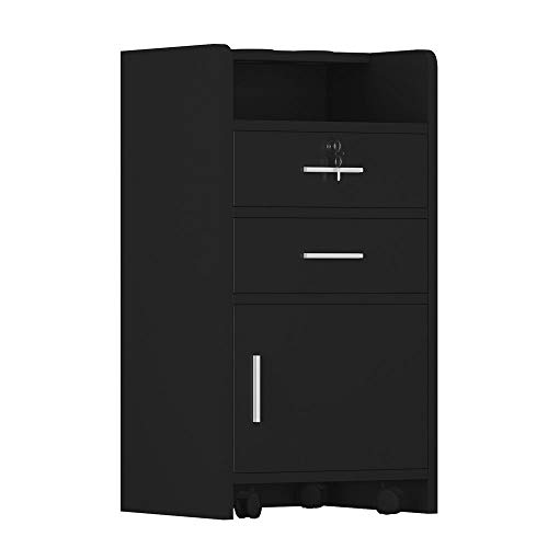 Salon Wood Rolling Drawer Cabinet Trolley Spa 3-layer Cabinet Equipment with A Lock (Black)