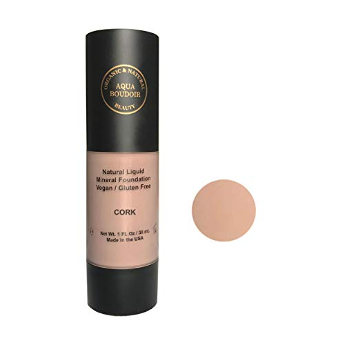 Aqua Boudoir Natural Organic Liquid Foudation Makeup, Gluten-Free, Vegan, Cruelty-Free, Non Comedogenic, Hypoallergenic - color 18 (Best Full Coverage Non Comedogenic Foundation)