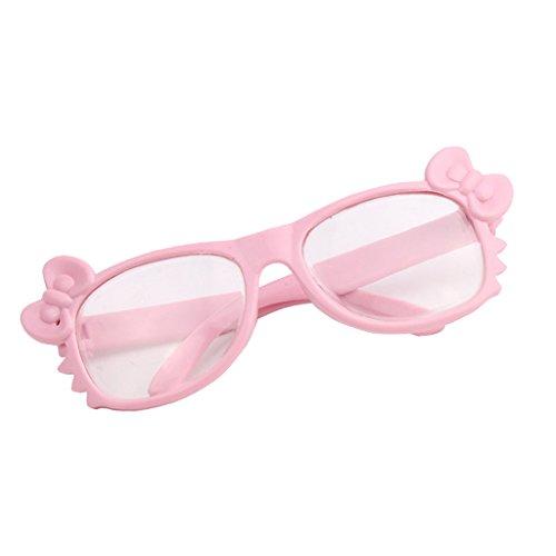 D DOLITY Vêtement de Poupée Lunettes de Bowknot en Plastique Décoration pour 18'' Fille Américaine Dolls Jouets Cadeaux Enfants - Rose