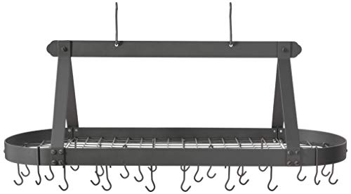 Old Dutch Oval Hanging Pot Rack with Grid & 24 Hooks, Graphite, 48 x 19 x ()