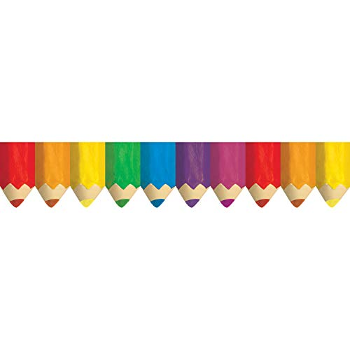 Creative Teaching Press CTP6475BN Jumbo Colored Pencils Border, 35' Per Pack, 6 Packs