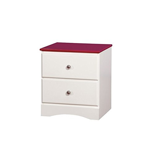HOMES: Inside + Out Beller Transitional 2-Drawer Nightstand, Pink & (2 Drawer Youth Nightstand)