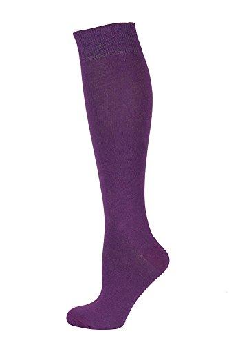 Mysocks Unisex Knee High Long Socks Plain Purple -