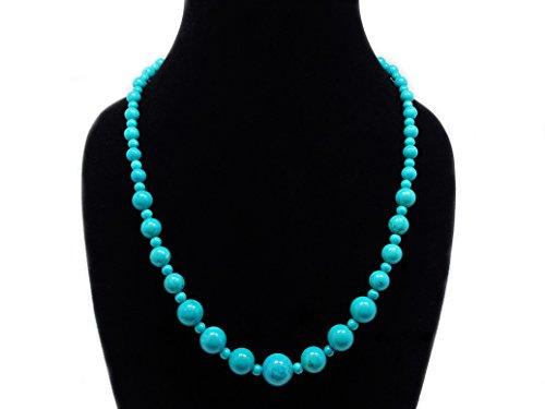 (jennysun2010 Handmade Natural Stabilized Turquoise Gemstone Beads 4~12mm Graduated Adjustable Necklace Healing (18'' Adjustable up to)