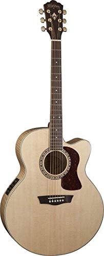Series Jumbo Acoustic Guitar - Washburn Heritage Series USM-HJ40SCE Jumbo Acoustic-Electric Guitar Natural